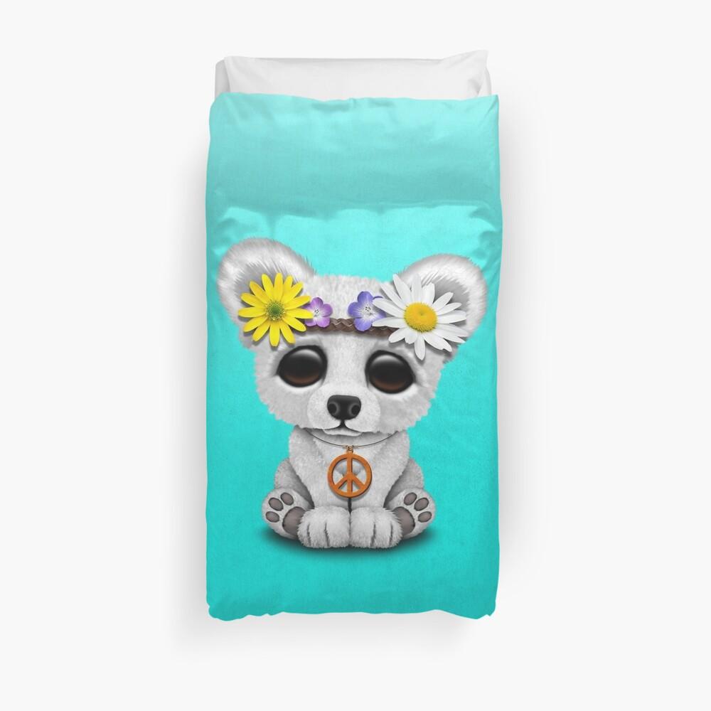 Cute Baby Eisbär Cub Hippie Bettbezug