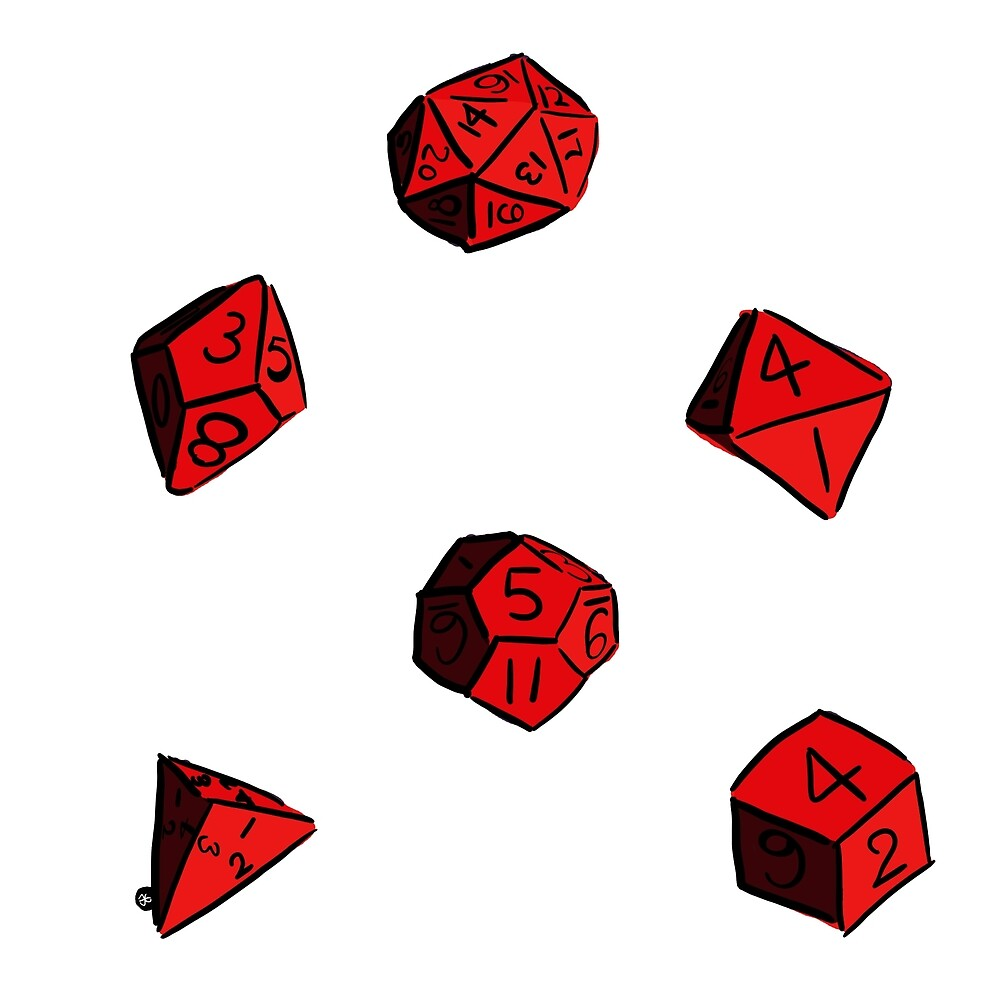 Red RPG dice by jmno