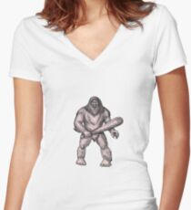 Bigfoot Holding Club Standing Tattoo Women's Fitted V-Neck T-Shirt
