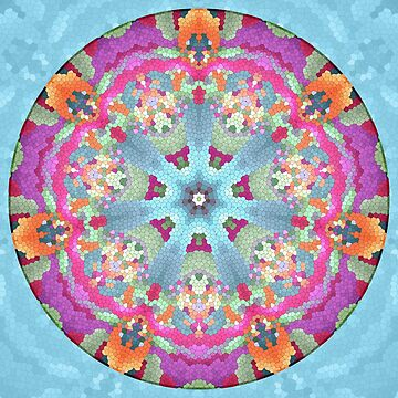 Mosaic Mandala in Purple, Pink, Green and Orange by kellydietrich