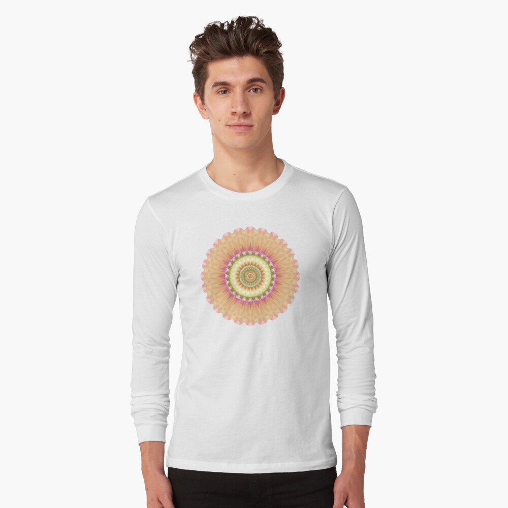 Beauty Mandala 01 in Pink, Yellow, Green and White Long Sleeve T-Shirt
