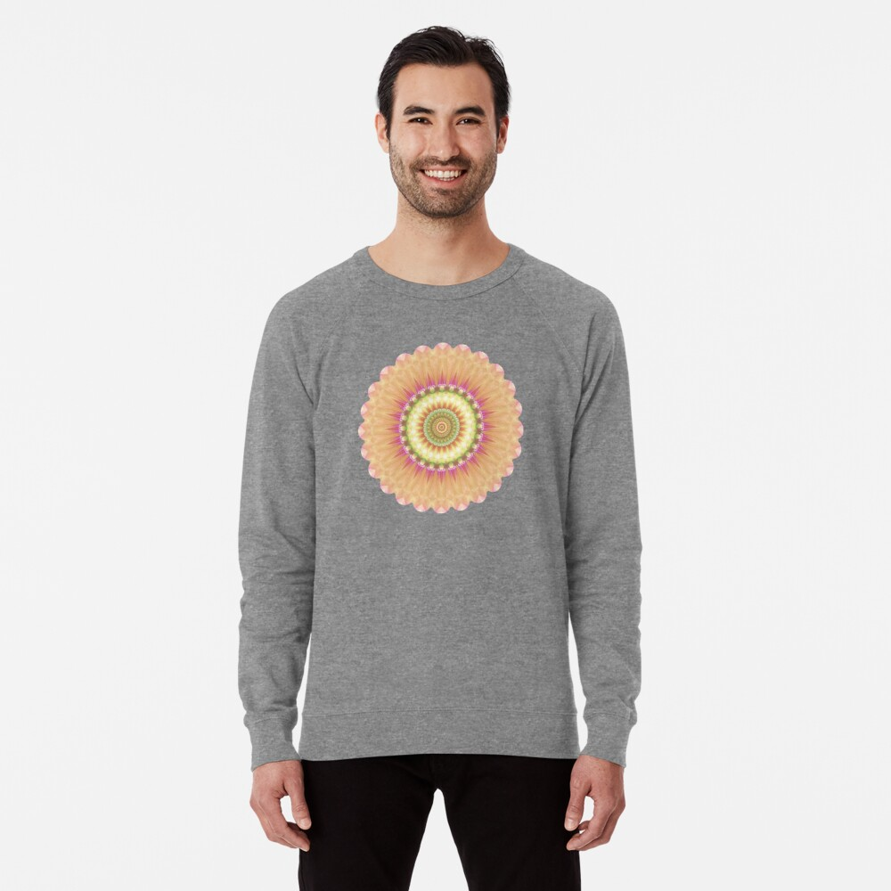 Beauty Mandala 01 in Pink, Yellow, Green and White Lightweight Sweatshirt