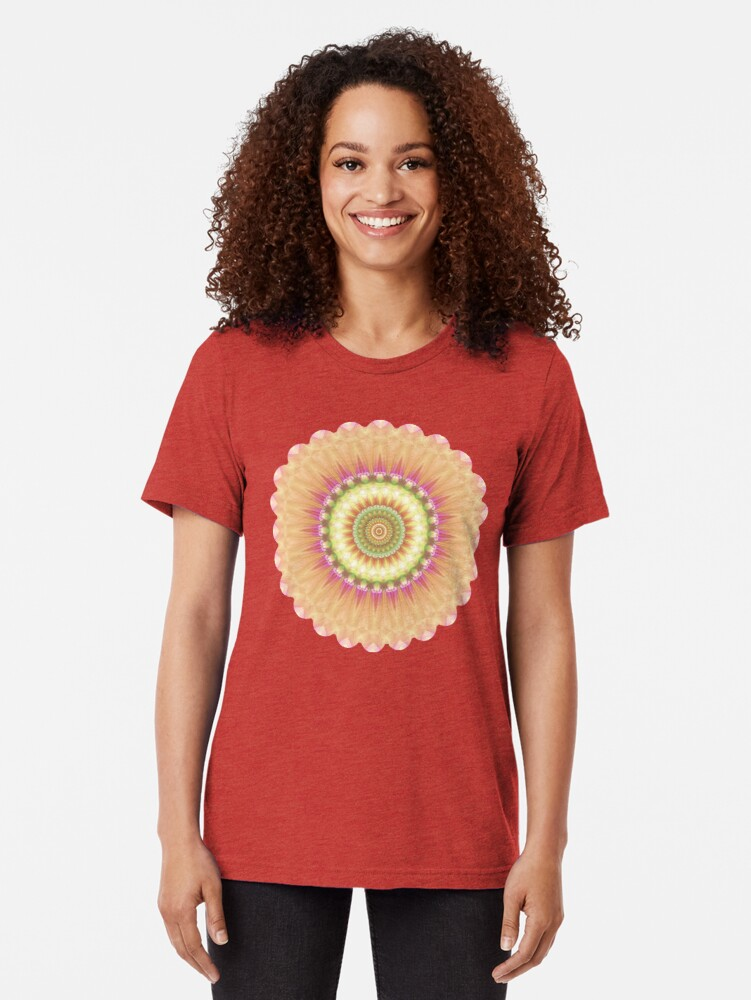 Alternate view of Beauty Mandala 01 in Pink, Yellow, Green and White Tri-blend T-Shirt