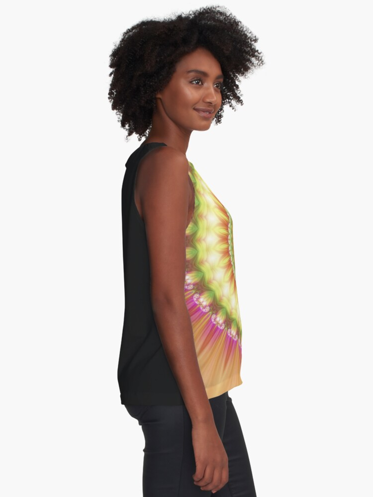 Alternate view of Beauty Mandala 01 in Pink, Yellow, Green and White Sleeveless Top
