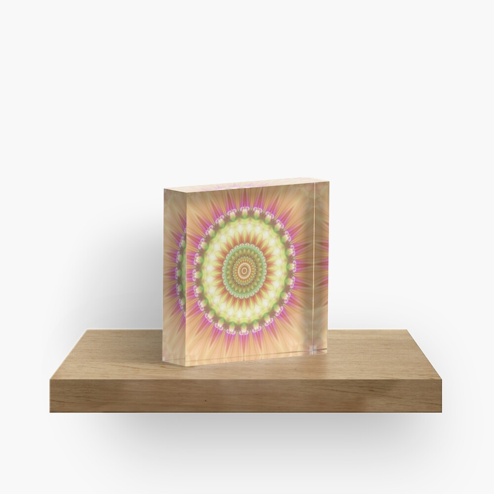 Beauty Mandala 01 in Pink, Yellow, Green and White Acrylic Block