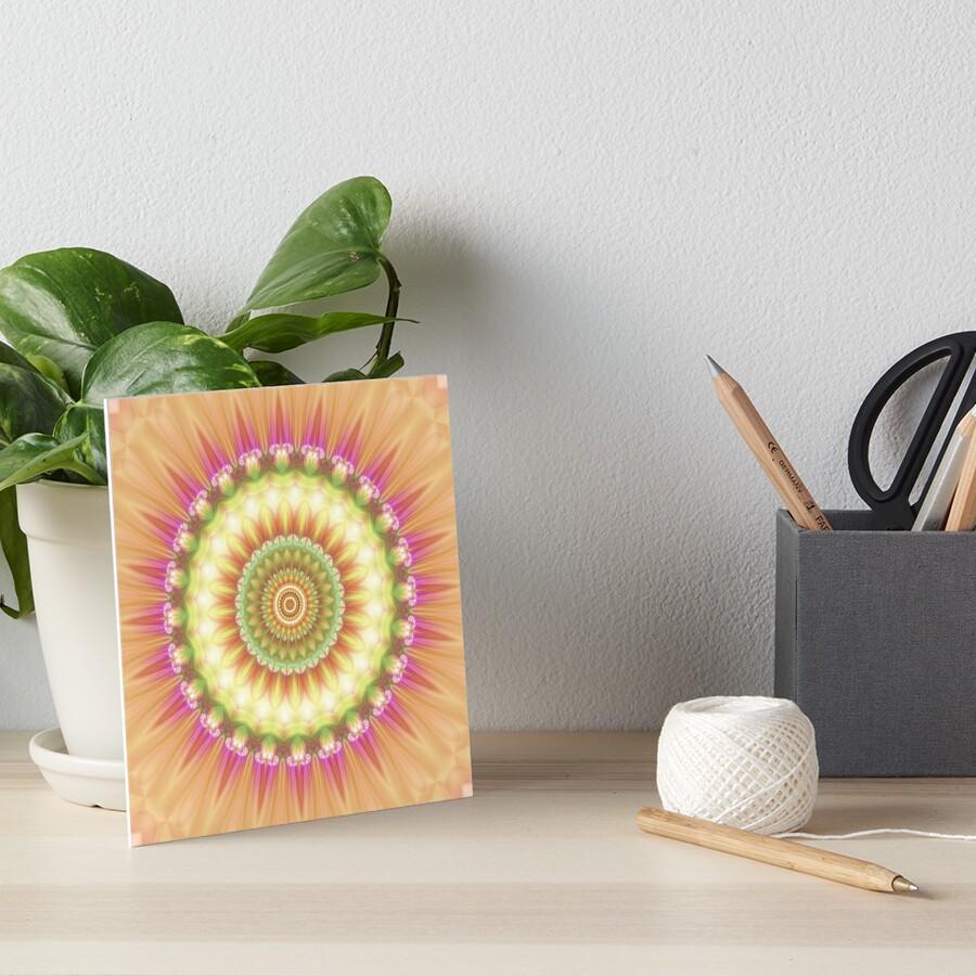 Beauty Mandala 01 in Pink, Yellow, Green and White Art Board Print