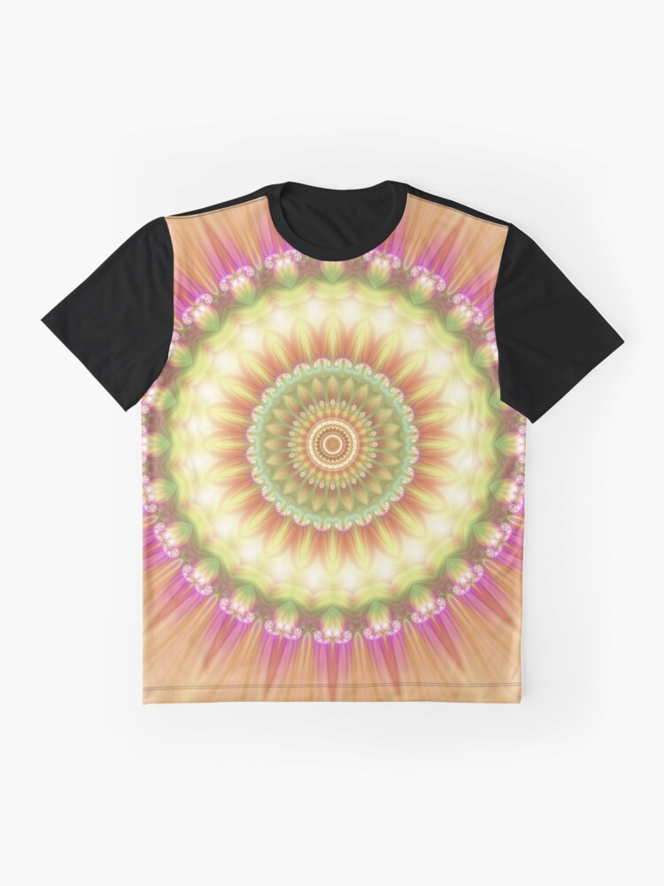 Alternate view of Beauty Mandala 01 in Pink, Yellow, Green and White Graphic T-Shirt