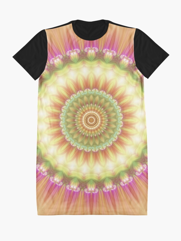 Alternate view of Beauty Mandala 01 in Pink, Yellow, Green and White Graphic T-Shirt Dress