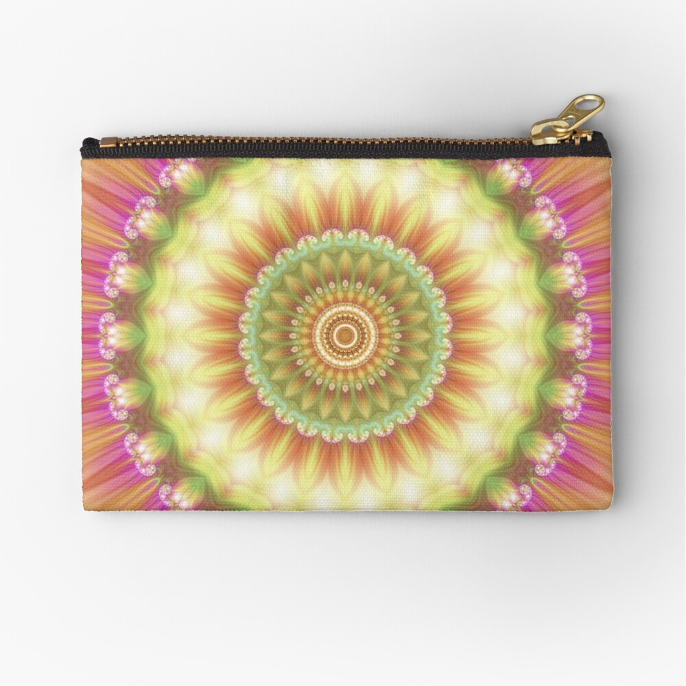 Beauty Mandala 01 in Pink, Yellow, Green and White Zipper Pouch