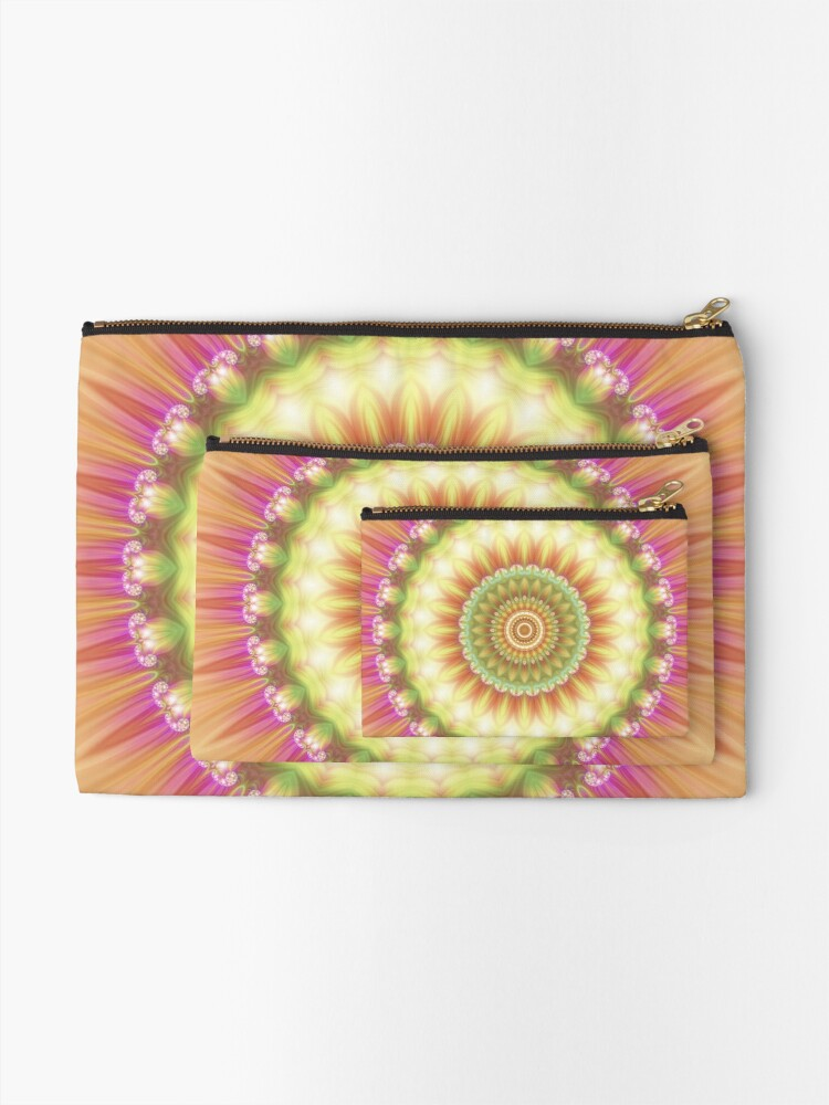 Alternate view of Beauty Mandala 01 in Pink, Yellow, Green and White Zipper Pouch