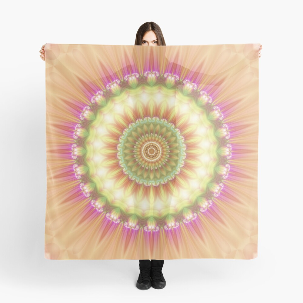 Beauty Mandala 01 in Pink, Yellow, Green and White Scarf