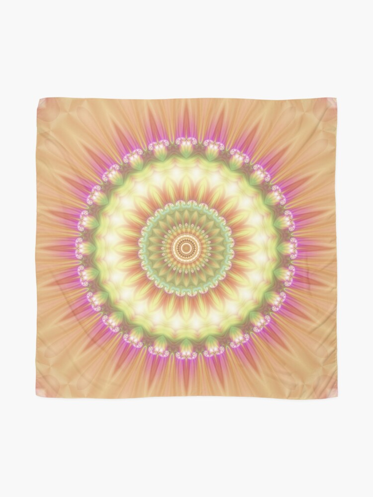 Alternate view of Beauty Mandala 01 in Pink, Yellow, Green and White Scarf