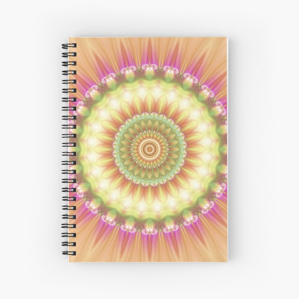 Beauty Mandala 01 in Pink, Yellow, Green and White Spiral Notebook