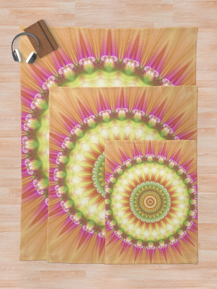 Alternate view of Beauty Mandala 01 in Pink, Yellow, Green and White Throw Blanket
