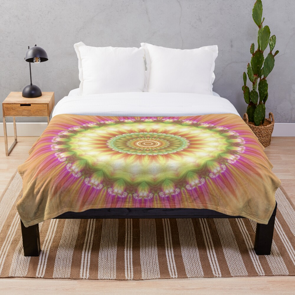 Beauty Mandala 01 in Pink, Yellow, Green and White Throw Blanket
