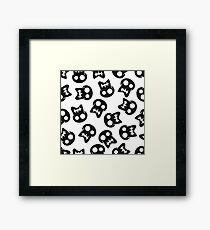 Comic Skull black pattern Framed Print