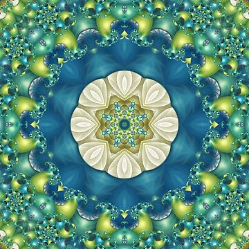 Poseidon's Rest Mandala in Blue, Green, Turquoise, Lime and White by kellydietrich