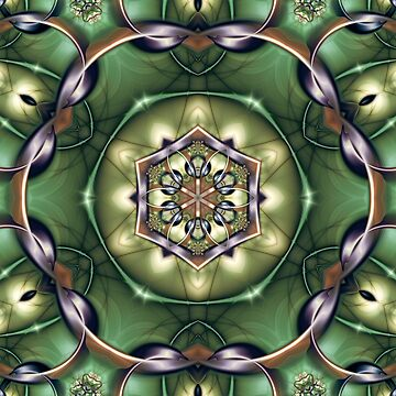 Mystery Mandala in Green, Yellow, Bronze, and Purple by kellydietrich