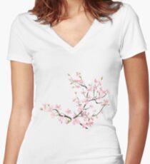 cherry blossom flowers Women's Fitted V-Neck T-Shirt