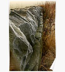 Frosty dry stone wall Poster