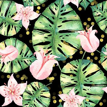 Tropical Monstera Leaves and Pink Tulip pattern by Glimmersmith