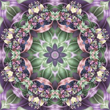 Fractal Ribbon Mandala in Green, Pink, Purple, and Yellow by kellydietrich