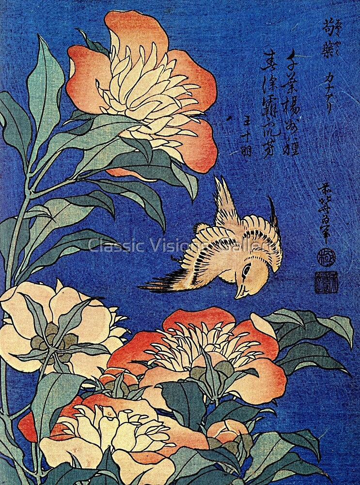 'Flowers' by Katsushika Hokusai (Reproduction) by Roz Abellera