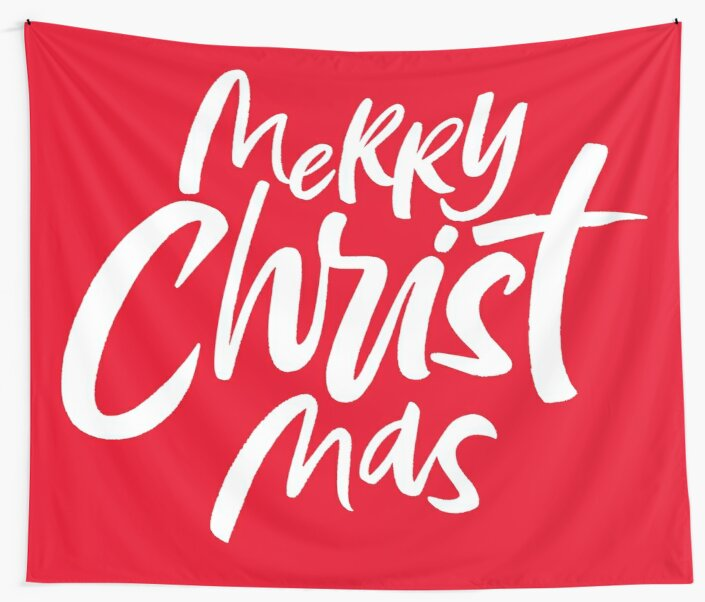 Merry CHRISTmas - Christian Christmas Lettering Religious - Red white by 26-Characters