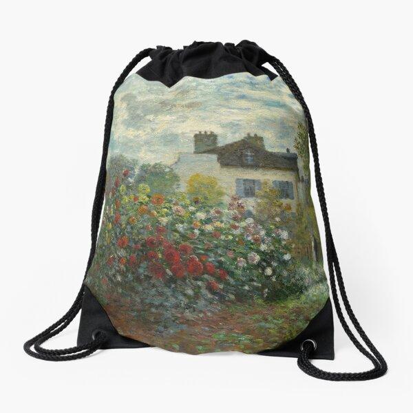 Claude Monet  A Corner of the Garden with Dahlias Drawstring Bag