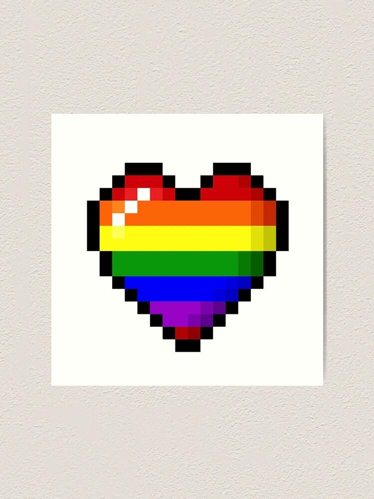 Pixel Art Rainbow Gay Pride Coeur 8bit Impression Artistique