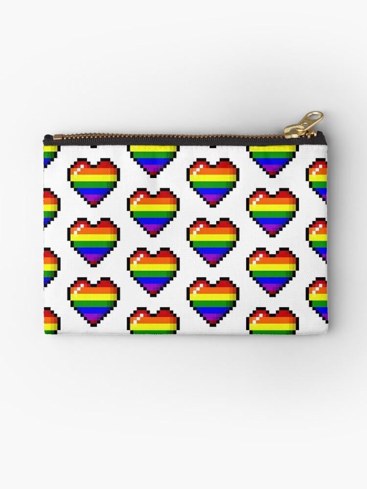 Pixel Art Rainbow Gay Pride Heart 8bit Zipper Pouch By Spacegays