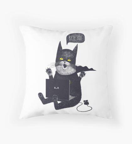 Geek Cat Throw Pillow