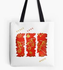 RED GOLD SONG MUSICAL NOTES PEACE LOVE MUSIC Tote Bag