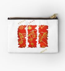 RED GOLD SONG MUSICAL NOTES PEACE LOVE MUSIC Zipper Pouch