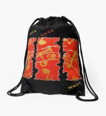 RED GOLD SONG MUSICAL NOTES PEACE LOVE MUSIC Drawstring Bag