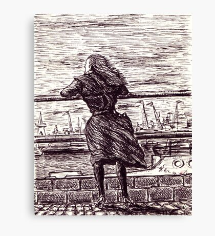 Wind in the port. Black and white pen ink drawing Canvas Print