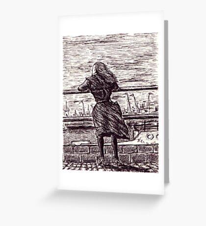 Wind in the port. Black and white pen ink drawing Greeting Card
