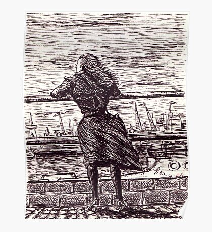 Wind in the port. Black and white pen ink drawing Poster