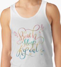 Beach Sleep Repeat Hand Lettered Design Tank Top