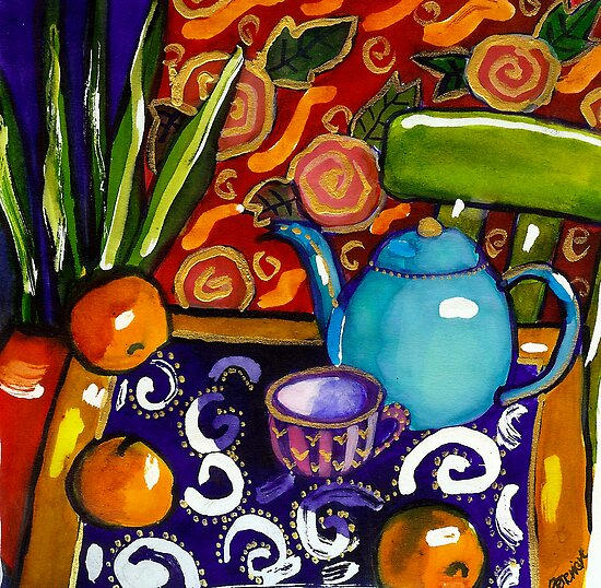 teapot still life watercolour painting by genevievem
