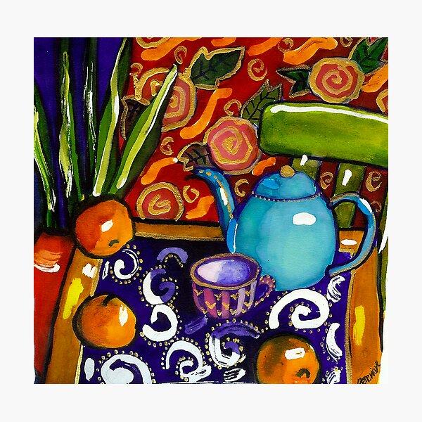 teapot still life watercolour painting Photographic Print