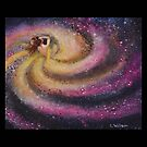 Galaxy Girl Pink Swirl Fantasy Space Painting by Laura Wilson