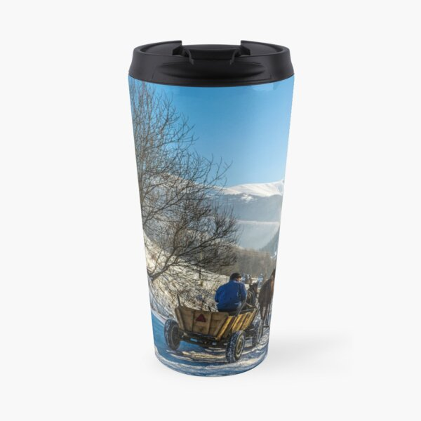 winter rural traffic in mountains Travel Mug