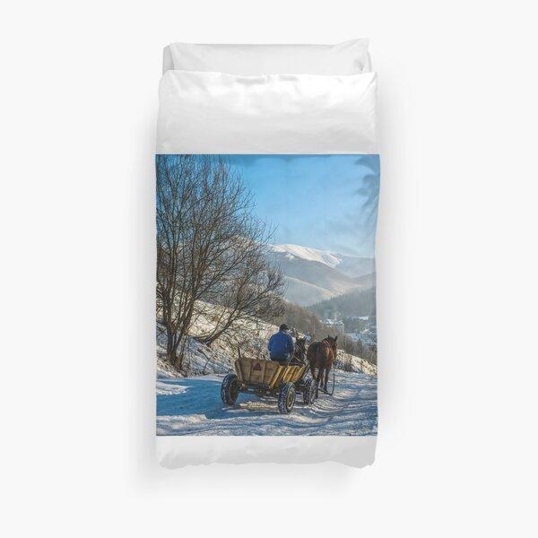 winter rural traffic in mountains Duvet Cover