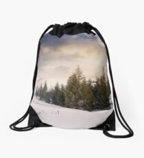 stormy weather over rural area in mountains Drawstring Bag