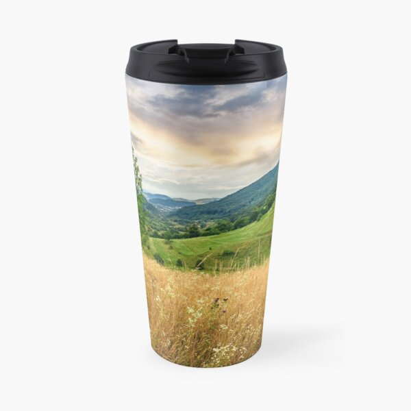 village on hillside meadow Travel Mug