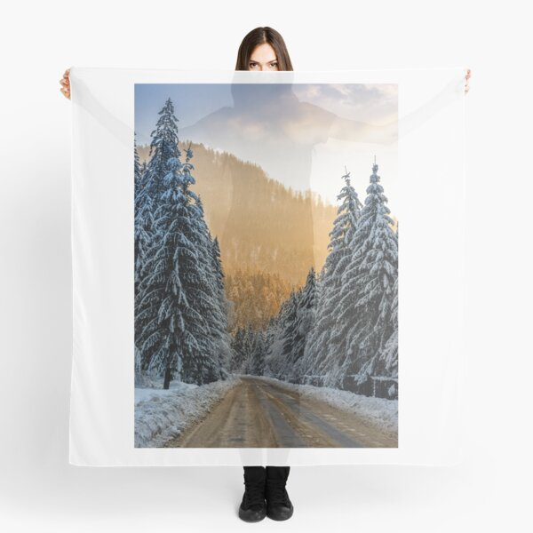 snowy road through spruce forest at sunset Scarf