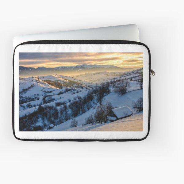 winter landscape in mountainous rural area at sunrise Laptop Sleeve