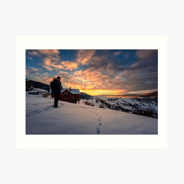 photographer looking in to the winter sunrise Art Print