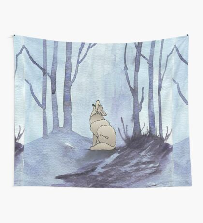 From silvery woods there comes a call - Log cabin décor  Wall Tapestry